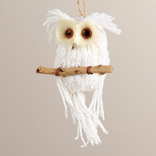 Paper Owl on Branch Ornament