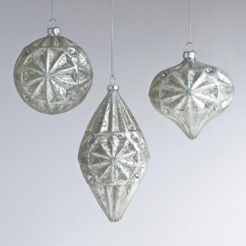 Mercury Glass with Gem Ornaments, Set of 3