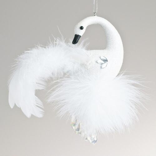 Glitter Swan with Feathers Ornament