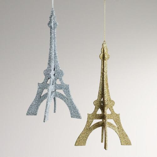Paper Glitter Eiffel Tower Ornaments, Set of 2