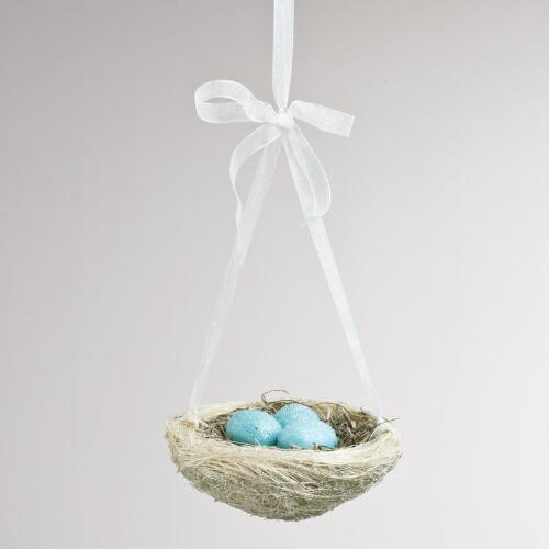 Natural Fiber Nest with Eggs Ornament