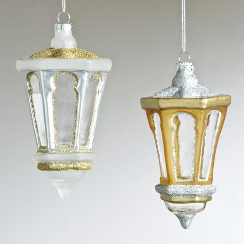 Glass Lantern Ornaments, Set of 2