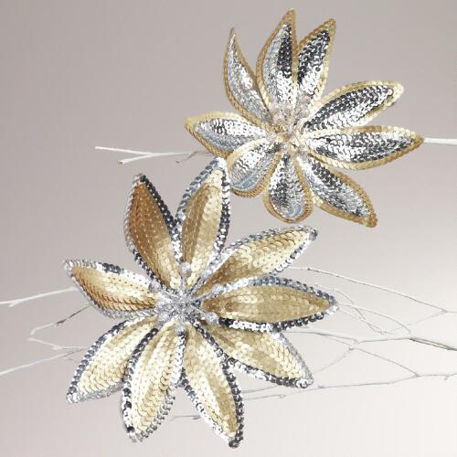 Sequined Flower Clip Ornaments, Set of 2