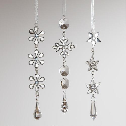 Beaded Snowflake with Drop Ornaments, Set of 3