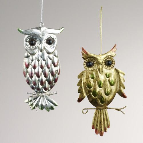 Metal Owl Ornaments, Set of 2