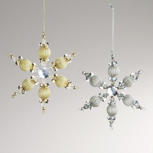 Metal Mesh and Gem Snowflake Ornaments, Set of 2