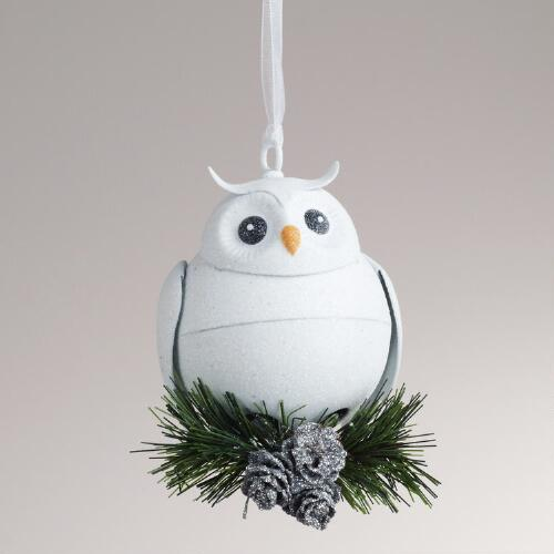 Metal Owl with Bell Ornament