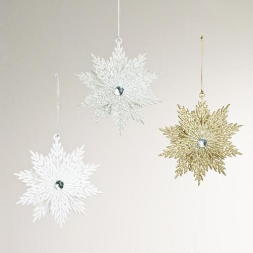 Glitter Snowflake Ornaments, Set of 3