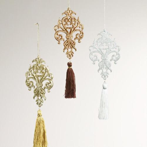 Glitter Scroll with Tassel Ornaments, Set of 3