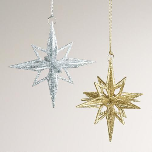Glitter Star Ornaments, Set of 2