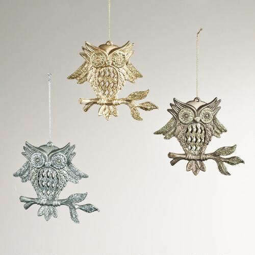 Glitter Owl on Branch Ornaments, Set of 3