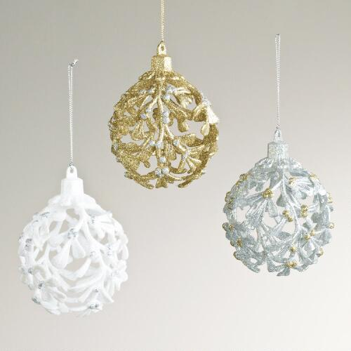 Glitter Holly Ball Ornaments, Set of 3