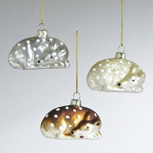 Mercury Glass Spotted Deer Ornaments, Set of 3