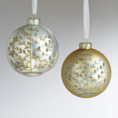 Glass Tree of Life Ball Ornaments, Set of 2