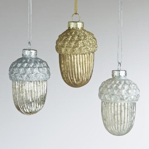 Mercury Glass Acorn Ornaments, Set of 3