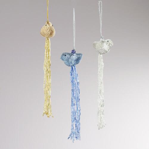 Metal Tassel Bird Ornaments, Set of 3