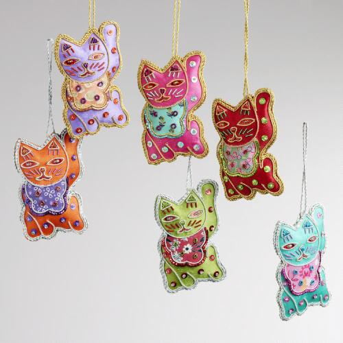 Zari Lucky Cat Ornaments, Set of 6