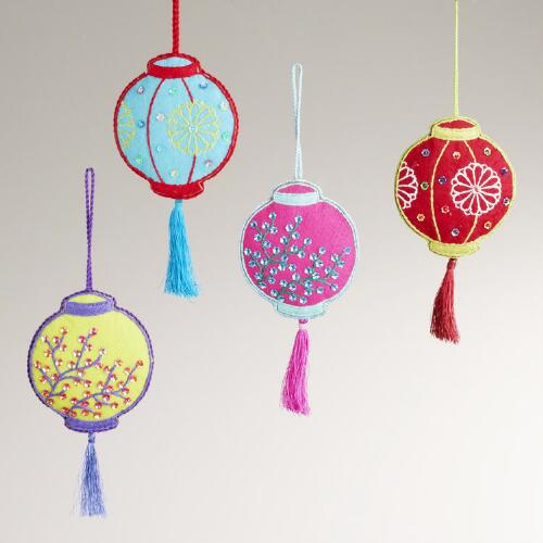 Embroidered Fabric Floral Lantern Ornaments, Set of 4