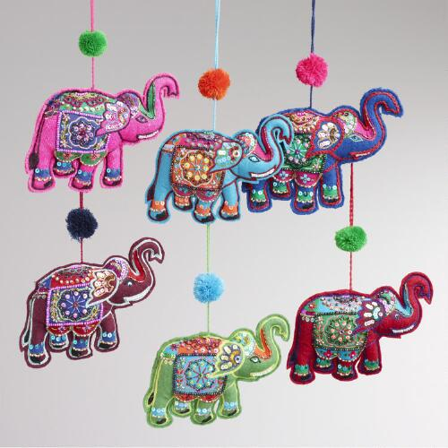 Embroidered Fabric Elephant with Pop-Pom Ornaments, Set of 6
