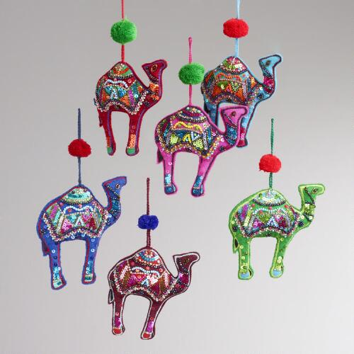 Embroidered Fabric Camel Ornaments, Set of 6