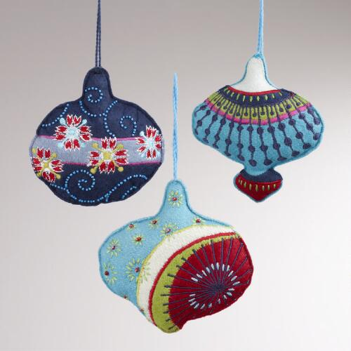 Embroidered Fabric Japanese-Inspired Ornaments, Set of 3