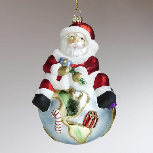 Glass Santa on Globe Ornament