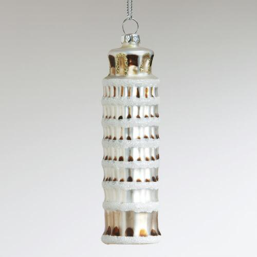 Glass Leaning Tower of Pisa Ornament