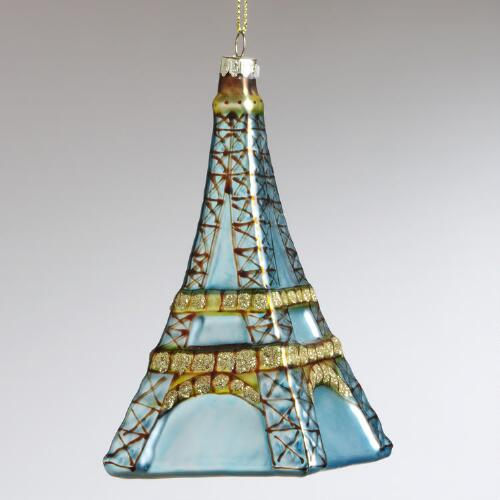 Glass Blue Eiffel Tower Ornament
