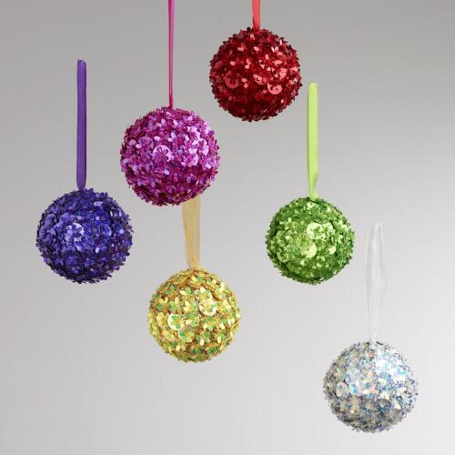 Sequined Flower Ball Ornaments, Set of 6