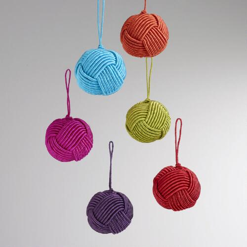 Fabric Knot Ball Ornaments, Set of 6