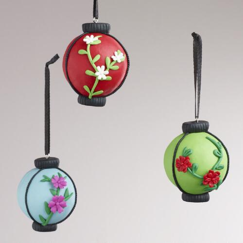 Clay Floral Lantern Ornaments, Set of 3
