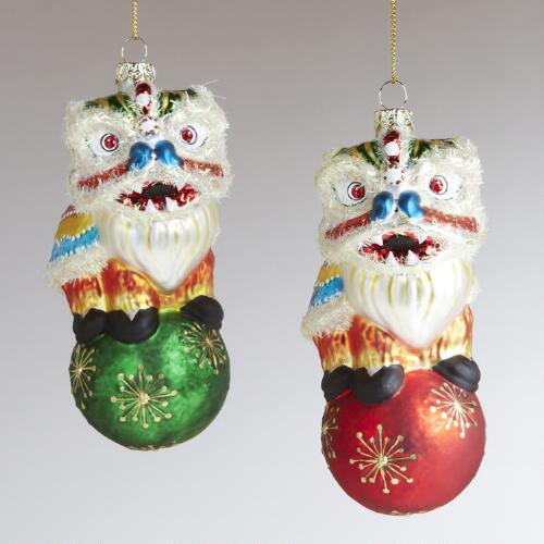 Glass Dancing Lion Ornaments, Set of 2