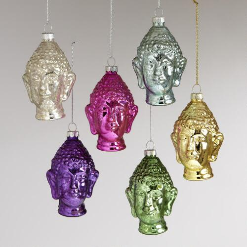 Glass Buddha Head Ornaments, Set of 6