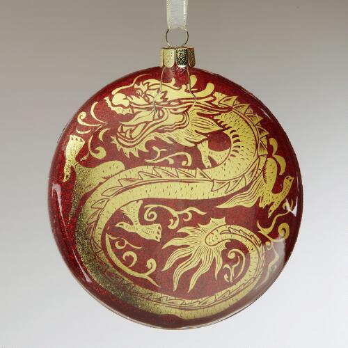 Glass Dragon Disc Ornament