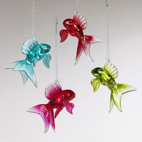 Glass Goldfish Ornaments, Set of 4