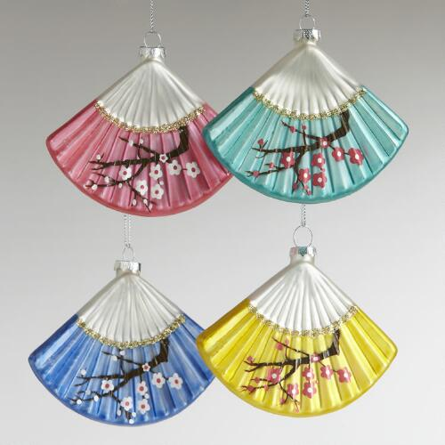 Glass Asian Fan Ornaments, Set of 4