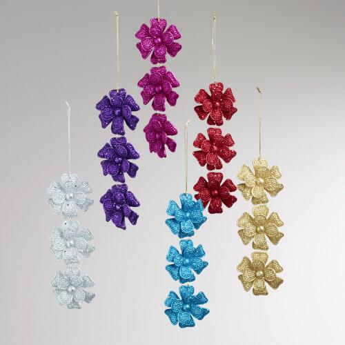 Glitter Blossom Ornaments, Set of 6