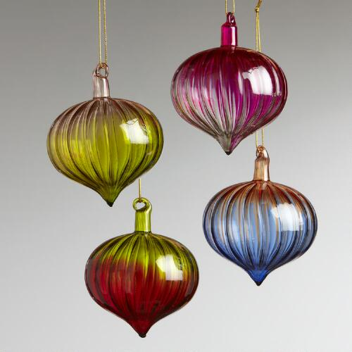 Glass Optic Onion Ball Ornaments, Set of 4