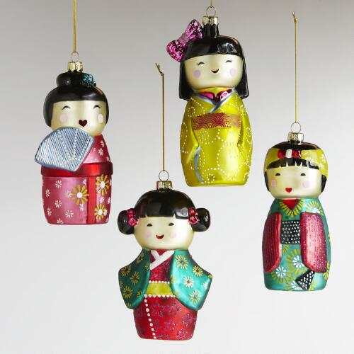Glass Kokeshi Doll Ornaments, Set of 4