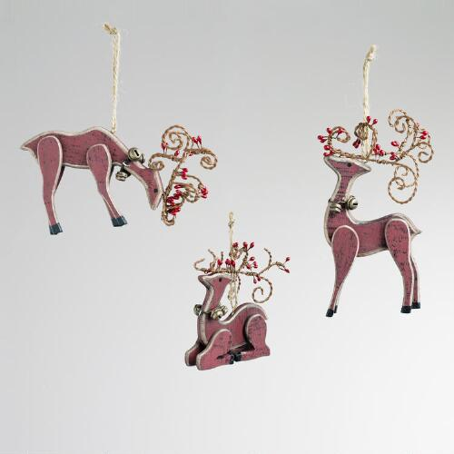 Wood Reindeer with Bells Ornaments, Set of 3