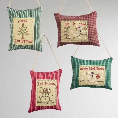 Christmas Pillow Ornaments, Set of 4