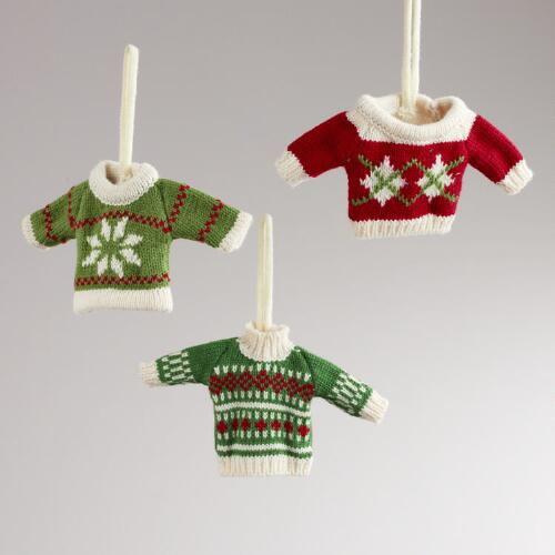 Mini Knit Fabric Sweater Ornaments, Set of 3