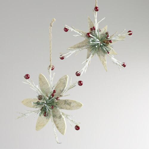 Wood Faux Birch Snowflake Ornaments, Set of 2