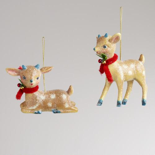 Paper Pulp Reindeer Ornaments,  Set of 2