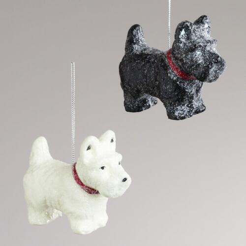 Paper Pulp Scottie Dog Ornaments,  Set of 2