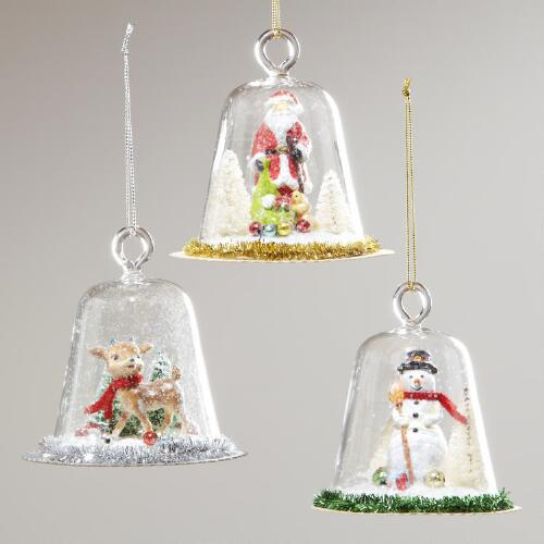 Glass Dome Santa, Snowman and Reindeer Ornaments, Set of 3