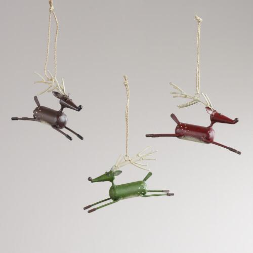 Metal Leaping Deer Ornaments, Set of 3