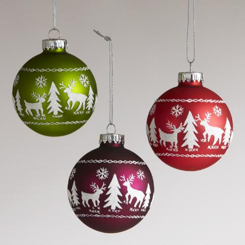 Glass Reindeer and Tree Ball Ornaments, Set of 3