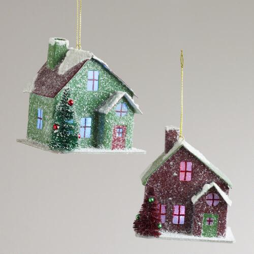 Paper House with Snow Ornaments, Set of 2