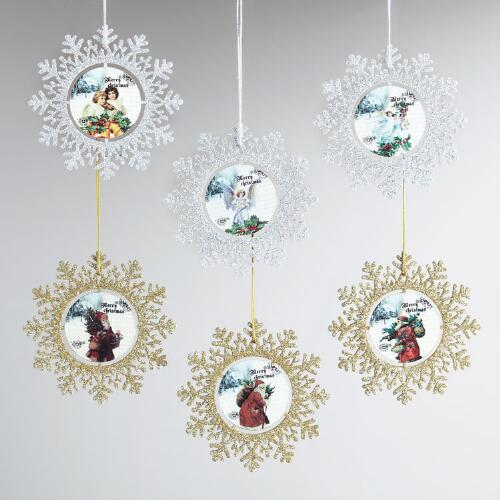 Wood Vintage-Inspired Snowflake Ornaments, Set of 6